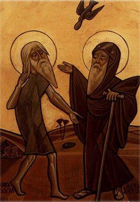 Встреча святых Павла Фивейского и Антония Великого