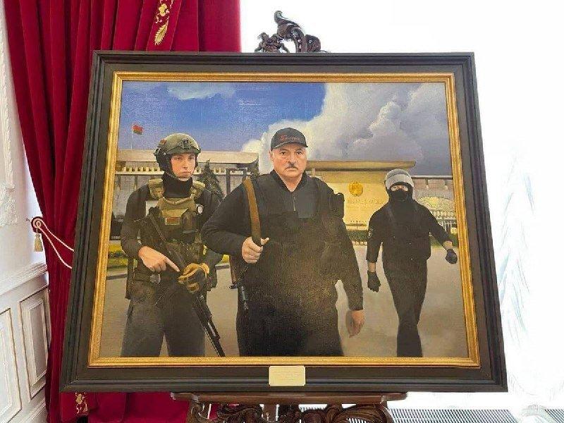 Картину сизображением Лукашенко савтоматом выставили вего резиденции
